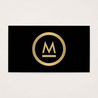 Grand monogramme moderne initial en or de Faux sur Cartes De Visite
