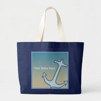 Grand nom bleu d'ancre sac en toile jumbo