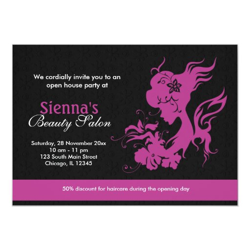 Grand opening beauty salon plum 5 x 7 invitation card for X salon mulund rate card