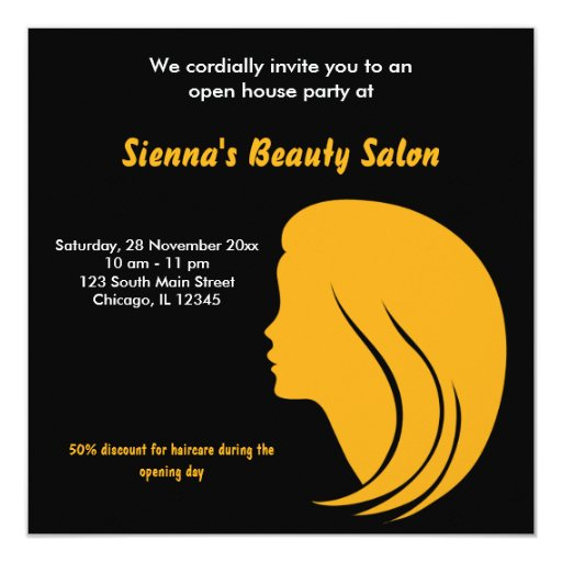 Grand opening salon gold square invitation card for X salon mulund rate card
