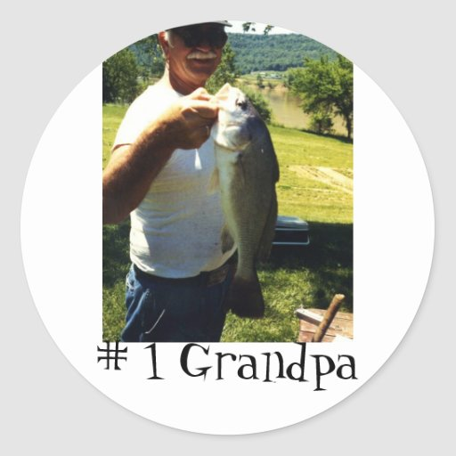 Grand-papa de pêche autocollant rond