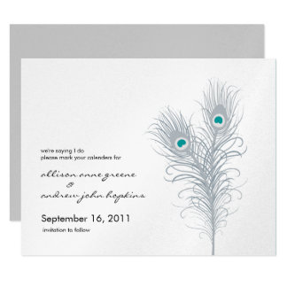 Grand Peacock Metallic Silver/Teal Save the Date Card