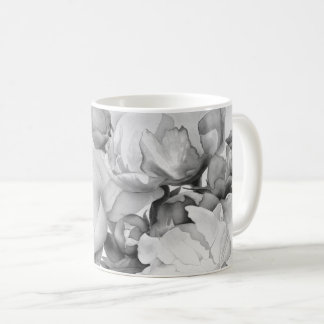 Grand Peony - black and white Coffee Mug