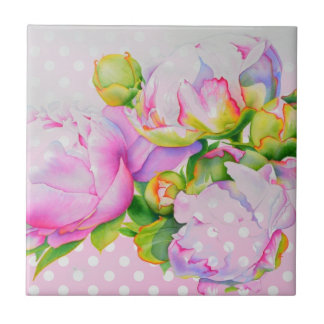 Grand Peony pink and white polka-dots Tile
