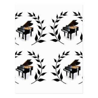 grand piano black postcard