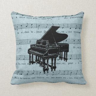 Grand Piano Blue Sheet Music Throw Pillow