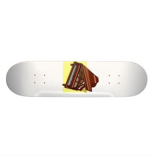 Grand Piano Brown Bird's Eye View Yellow Back Skate Board