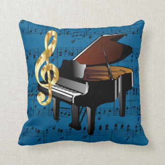 Grand Piano Gold Treble Clef Blue Sheet Music Throw Pillow