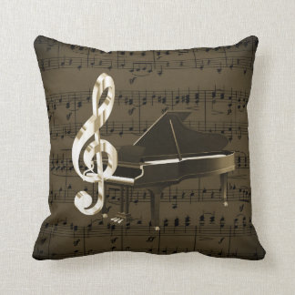 Grand Piano Gold Treble Clef Bronze Sheet Music Throw Pillow