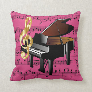 Grand Piano Gold Treble Clef Fuchsia Sheet Music Throw Pillow