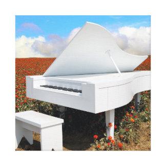 Grand piano in zinnia field canvas print
