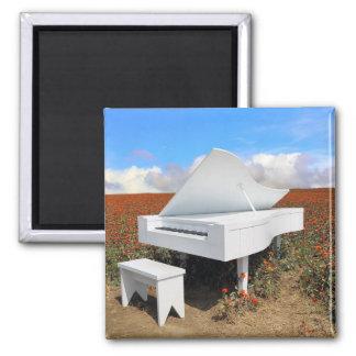 Grand piano in zinnia field magnet