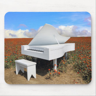 Grand piano in zinnia field mouse pad