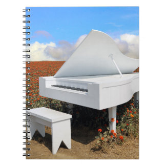 Grand piano in zinnia field notebook