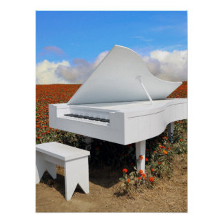 Grand piano in zinnia field poster