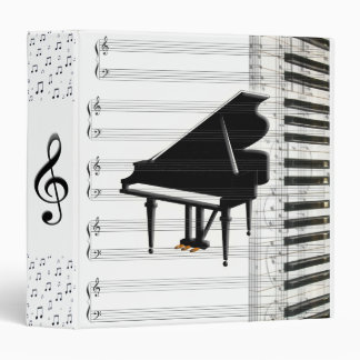Grand Piano Keyboard Music Notes and Staff Binders