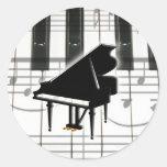 Grand Piano Keyboard & Notes Round Sticker