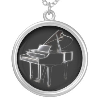 Grand Piano Musical Classical Instrument Silver Plated Necklace
