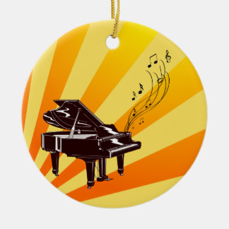 Grand Piano Notes Yellow and Gold Round Ceramic Ornament