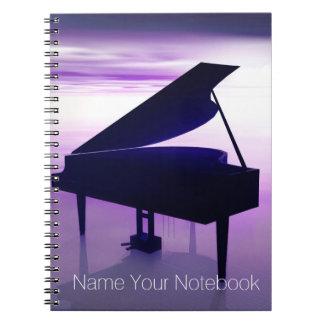 Grand Piano on Sunset Beach Music Notebook