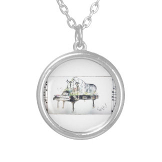 Grand piano silver plated necklace