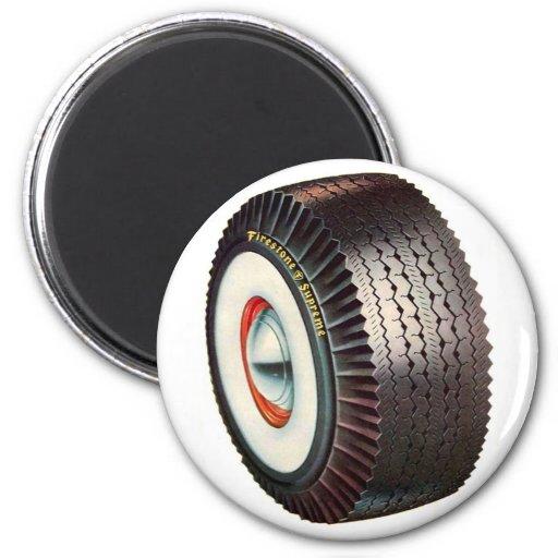 grand pneu de pneu flanc blanc de r tro voiture aimants zazzle. Black Bedroom Furniture Sets. Home Design Ideas