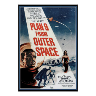 Grand poster vintage - vieux film d espace extra-a
