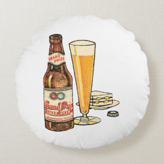 Grand Prize Lager Beer Round Pillow
