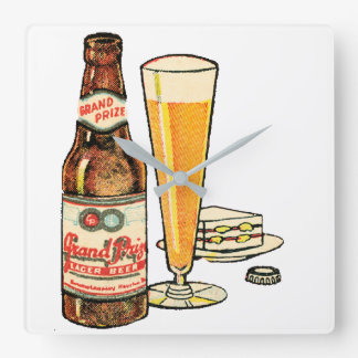 Grand Prize Lager Beer Square Wall Clock