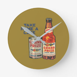 Grand Prize Lager Beer Take Home A Case Round Clock