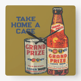 Grand Prize Lager Beer Take Home A Case Square Wall Clock