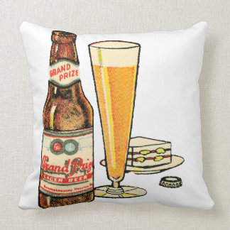 Grand Prize Lager Beer Throw Pillow