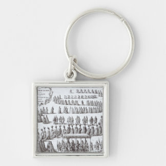 Grand Procession the Sovereign and the Knights Silver-Colored Square Keychain