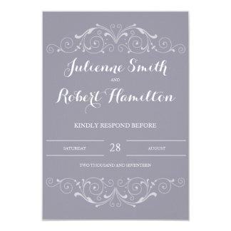 Grand Soiree   Lilac Gray Wedding RSVP Card