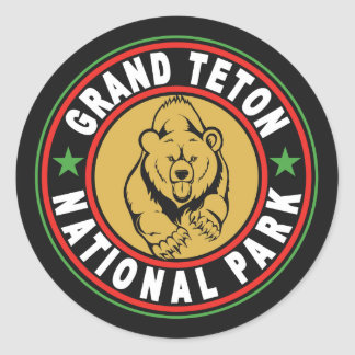 Grand Teton Black Circle Classic Round Sticker