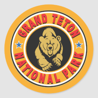 Grand Teton Gold Circle Classic Round Sticker