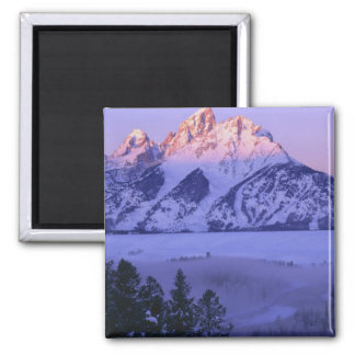 GRAND TETON NATIONAL PARK, WYOMING. USA. Fog & Square Magnet