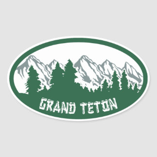 Grand Teton Natl Park Panorama Oval Sticker