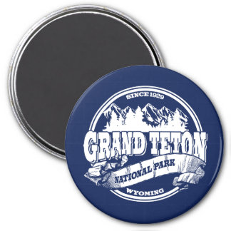 Grand Teton Old Circle Blue 3 Inch Round Magnet