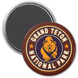 Grand Teton Vintage Circle 3 Inch Round Magnet