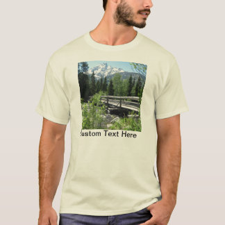 Grand Tetons Spring Snow and Wood Bridge T-Shirt