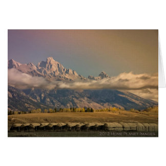 Grand Tetons with misty cloud Card