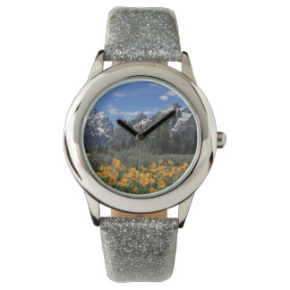 Grand Tetons with Yellow Flowers Wrist Watch