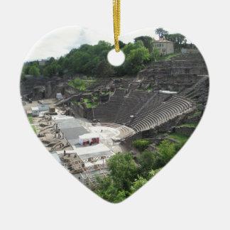 Grand Theater, Lyon Amphitheater, Roman | France Ceramic Heart Ornament