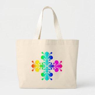 Grand Tote Bag Arc-en-ciel Fleur de lis