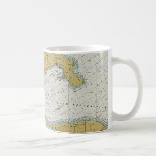 Grand Traverse Bay Michigan Nautical Chart Mug