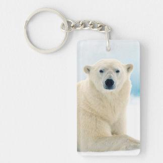 Grand verrat adulte d'ours blanc sur la glace porte-clé rectangulaire en acrylique double face