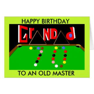 Grandad Snooker card 70th birthday