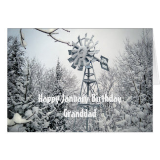 Grandad's January Birthday-windmill snow scene Card