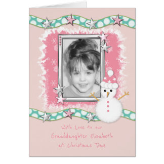 Grandaughter Pink Christmas Photo Card